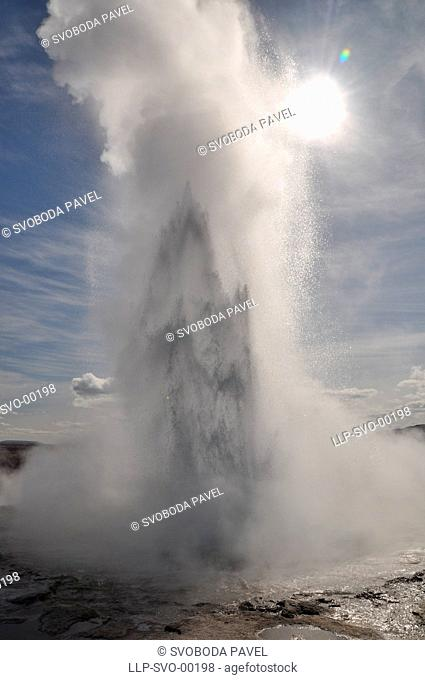 Famous Geyser eruption in a sunny day, south Iceland