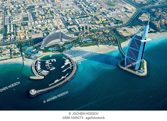 Aerial view of Burj Al Arab and Jumeirah Beach Hotel, Dubai, UAE