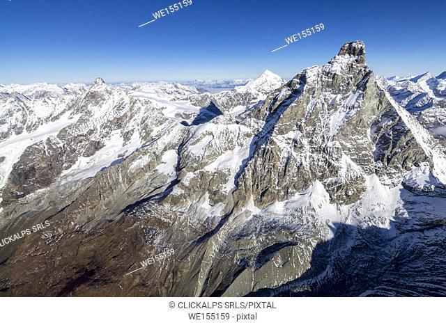 Aerial view of the italian side of Matterhorn Zermatt canton of Valais Switzerland Europe