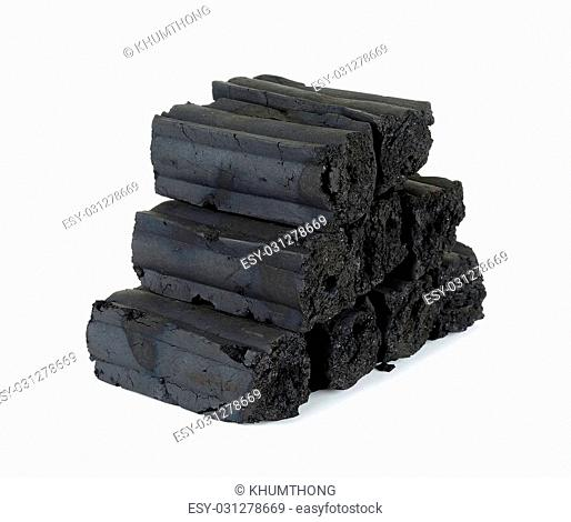 Pile of charcoal isolated on the white background