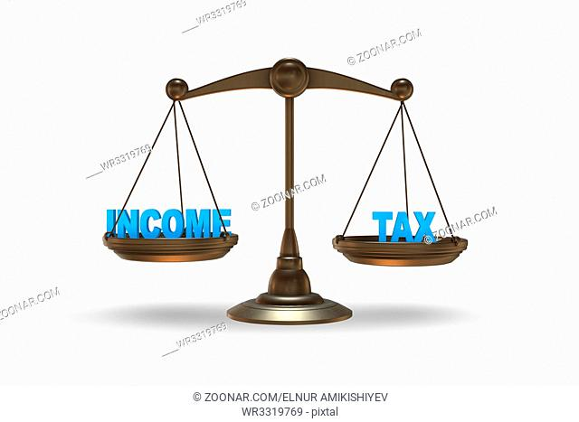 Scales in income and tax concept- 3d rendering