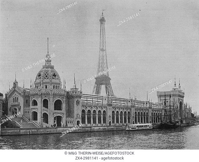 Army, Navy and Hygiene Palace, Universal Exhibition 1900 in Paris, Picture from the French weekly newspaper l'Illustration, 7th July 1900