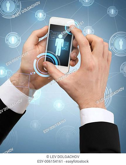 business, internet and technology concept - businessman touching screen of smartphone