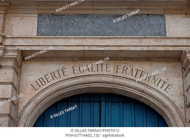 Paris, 47 quai des Tournelles, Hotel Miramion, former Musee de la Medecine, now private property, motto, Photo Gilles Targat