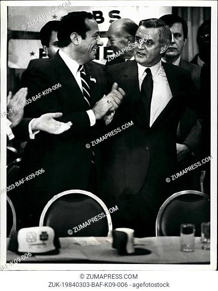 Mar. 03, 1984 - Walter Mondale, Campaigning for the democratic nomination for president, brought his campaign to New York today with a labor rally promoted by...