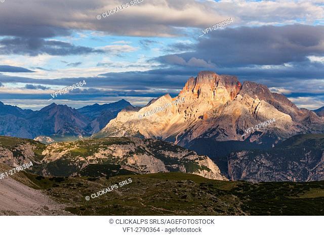 Tre Cime di lavaredo, Trentino Alto Adige, Italy. The first light of day illuminated the Cristallo peak, into the Sexten Dolomites natural park