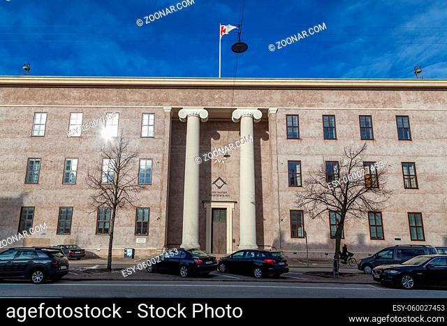 Copenhagen, Denmark - February 12, 2019: Front view of the Freemasons' Hall, the headquarters of the Danish Order of Freemasons