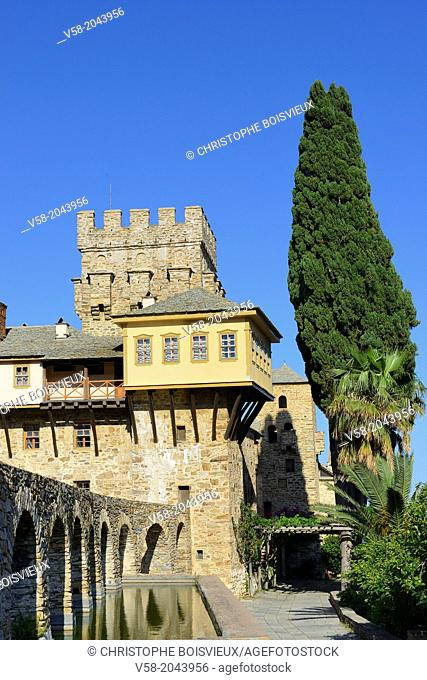 Greece, Chalkidiki, Mount Athos peninsula, listed as World Heritage, Stavronikita monastery