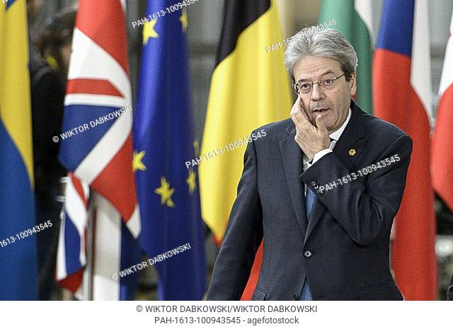 Italian Prime Minister Paolo Gentiloni arrives for the European Council, EU head of states meeting in Brussels, Belgium on 22.03