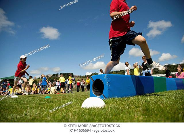 Children at the annual School sports day at a small primary school, UK