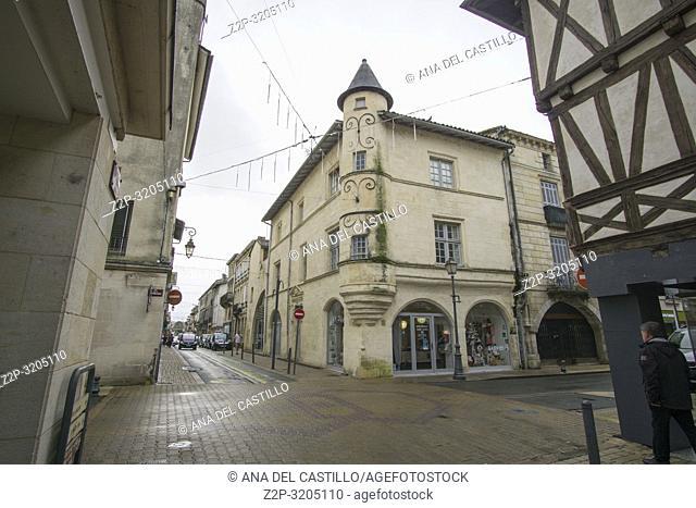 Sainte-Foy-la-Grande sits on the south bank of the Dordogne river Gironda Aquitania France on December 6 2018: Tourist Office of Pays Foyen