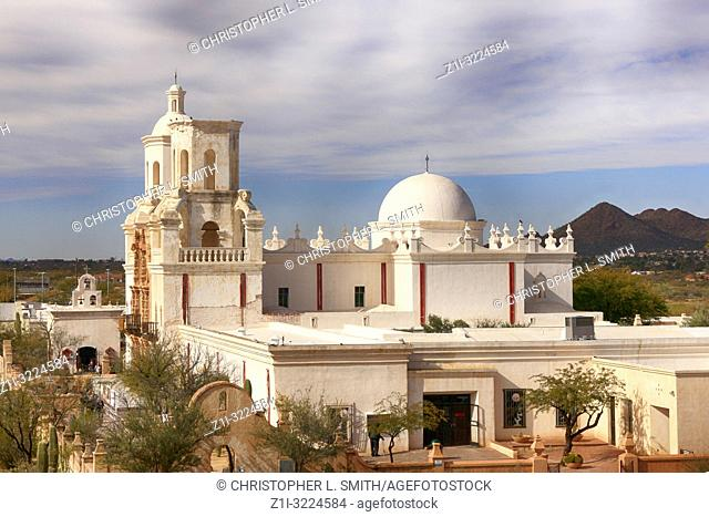 The Mission Church of San Xavier del bac in Tucson, Arizona, USA