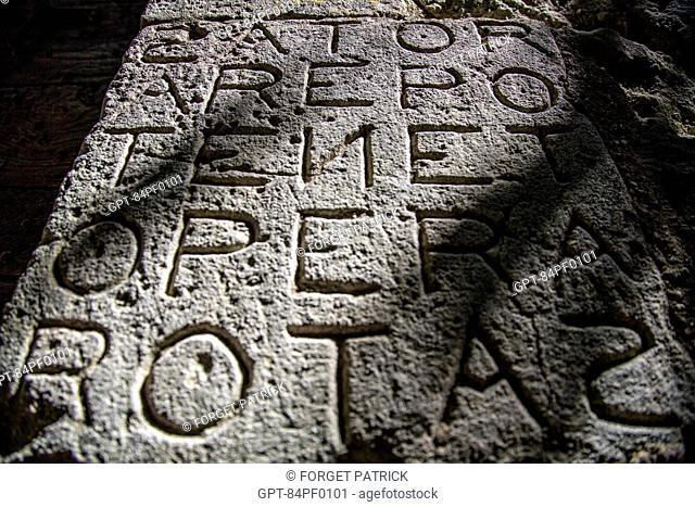 MAGICAL SATOR SQUARE OF THE FIRST GNOSTICS OF ROME, PALINDROMIC SQUARE OF FIVE LETTERS FORMING WORDS, OPPEDE-LE-VIEUX, VAUCLUSE (84), FRANCE