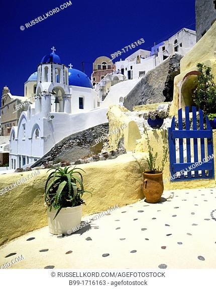 Garden Oia Santorini Island Cyclades Aegean Sea Greece