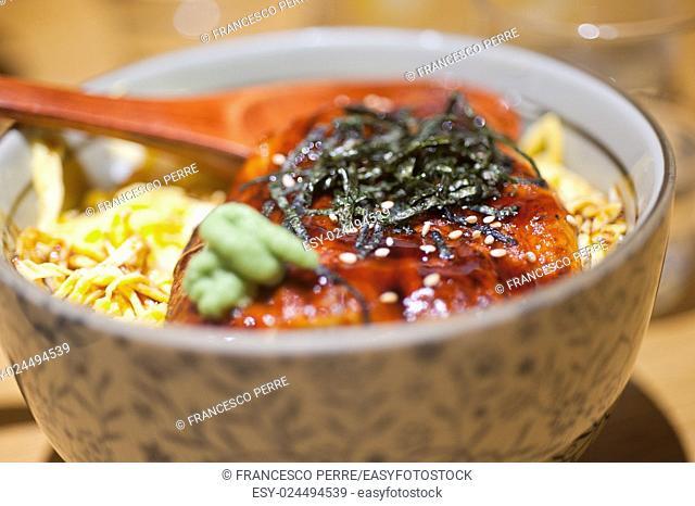 traditional Japanese ramen noodles with unagi eel on top