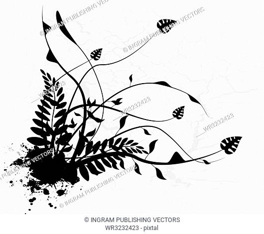 Floral design in black and white silhouette with ink spots