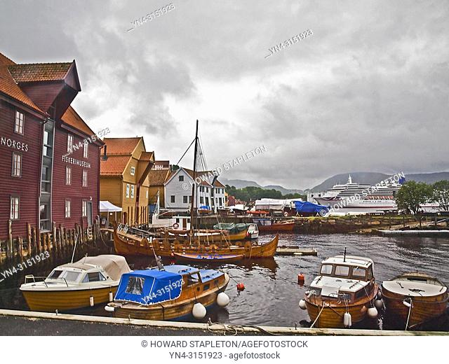 Small boat harbor and the Norwegian Fisheries Museum at Bergen, Norway