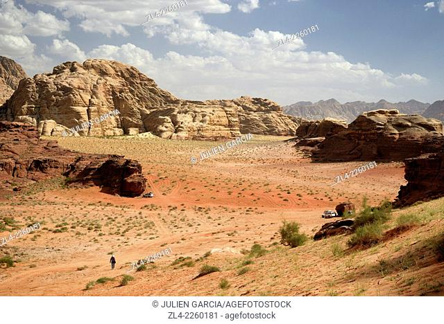 Desert of sand and rocks. Jordan, Wadi Rum desert, protected area inscribed on UNESCO World Heritage list