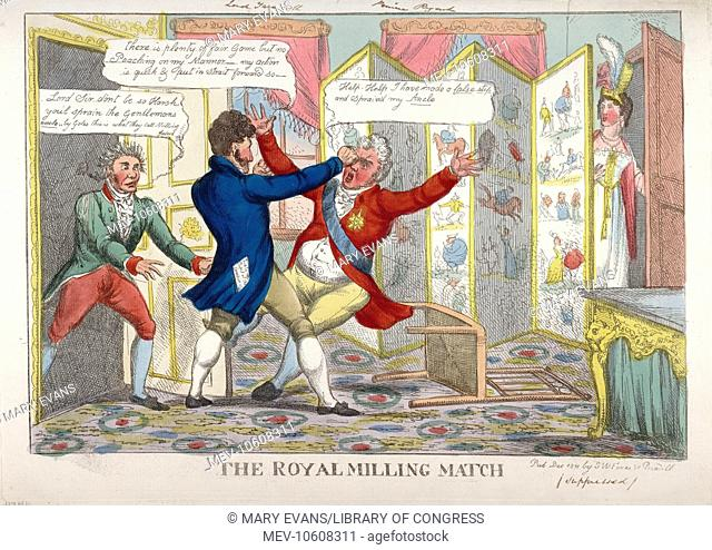 The royal milling match. Caricature showing Lord Yarmouth hitting the Prince Regent in the eye, as Lady Yarmouth looks from behind screen covered with...