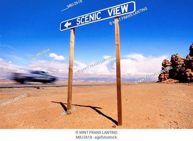 Scenic view road sign, San Rafael Swell, Utah