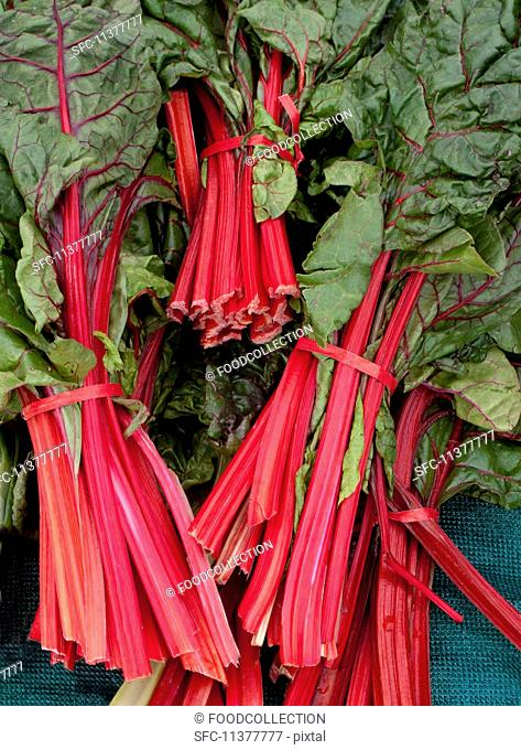 Bunches of red-stemmed chard