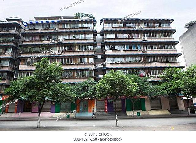 Low angle view of apartment buildings, Chengdu, Sichuan Province, China
