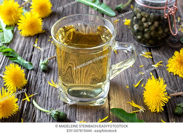 A cup of dandelion tea with fresh flowers