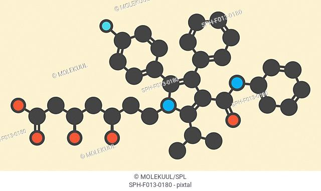 Atorvastatin cholesterol lowering drug (statin class) molecule. Stylized skeletal formula (chemical structure). Atoms are shown as color-coded circles: hydrogen...