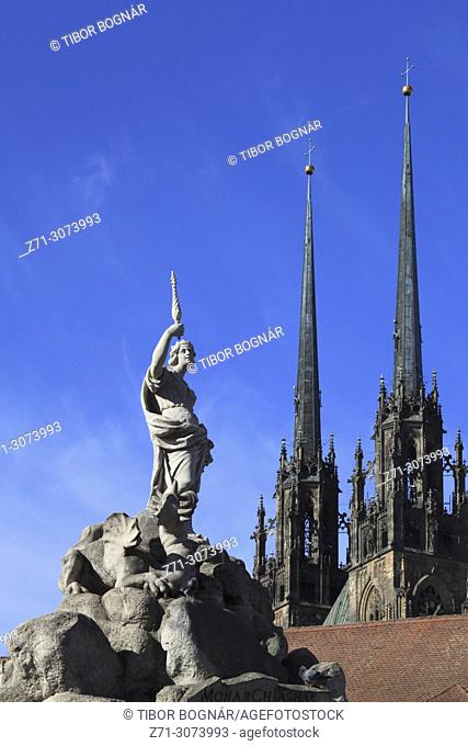 Czech Republic, Brno, Parnassus Fountain, Cathedral,