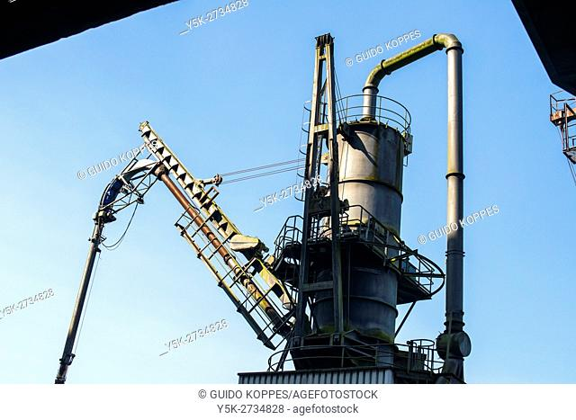 Rotterdam, Netherlands. Historical corn elevator at the docks of Maashaven at Port of Rotterdam, formerly uses for transshipment of bulk
