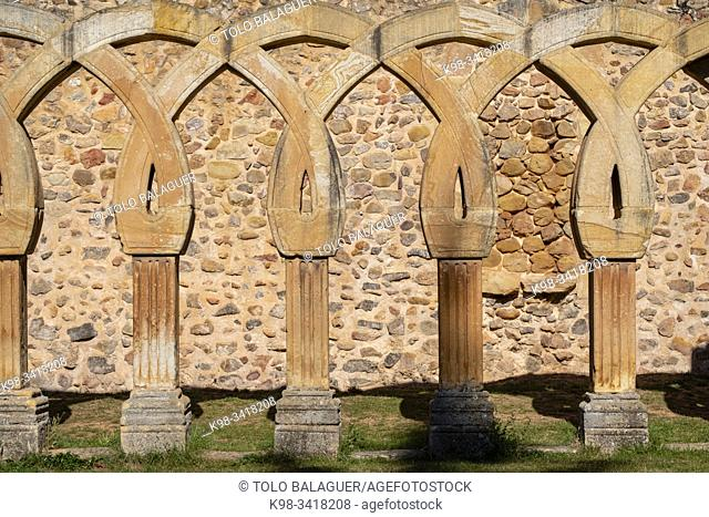 Arches of the cloister, Monastery of San Juan de Duero, Castilian Romanesque architecture, 12th century, Soria, Autonomous Community of Castile-Leon, Spain