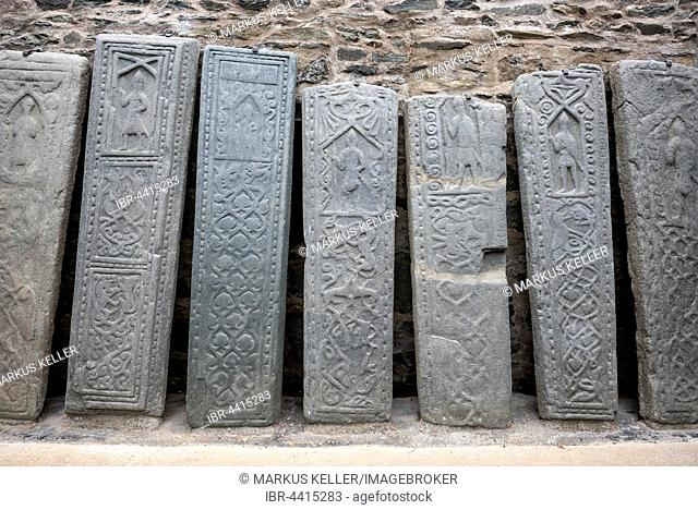 Kilmartin Stones, old grave stones at the parish church, Kilmartin, Argyll and Bute, Scotland, United Kingdom