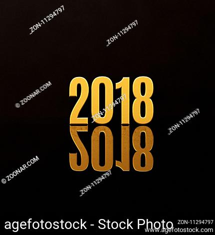 Gold Happy New Year 2018 Text Design 3D Illustration, Golden 2018 Happy New Year Festive Background for Your Seasonal Flyers and Greetings Card or Christmas...