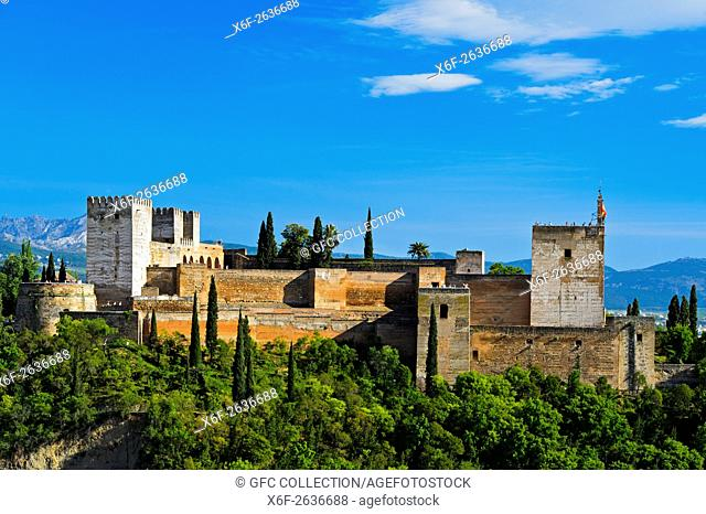 Alcazaba of the Alhambra, UNESCO World Heritage Site, Granada, Andalusia, Spain