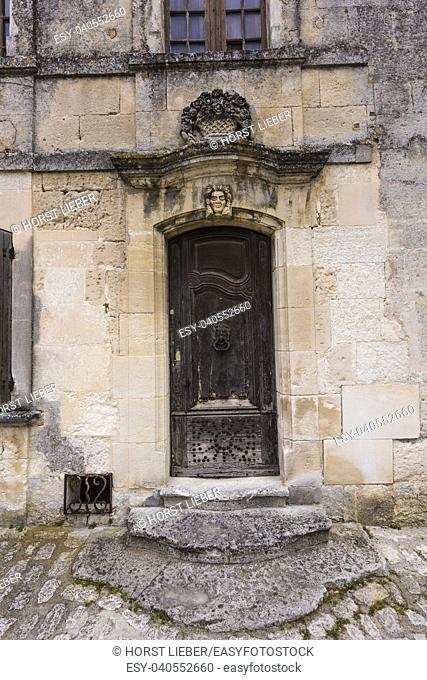 Old door in Les Baux de Provence. Bouches du Rhone, Provence, France, Europe
