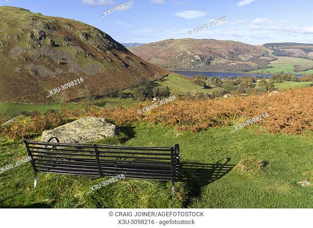 View over the Boredale valley towards Ullswater from Beda Fell in the Lake District National Park, Cumbria. England