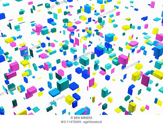 Abstract floating multicolored cubes on white background