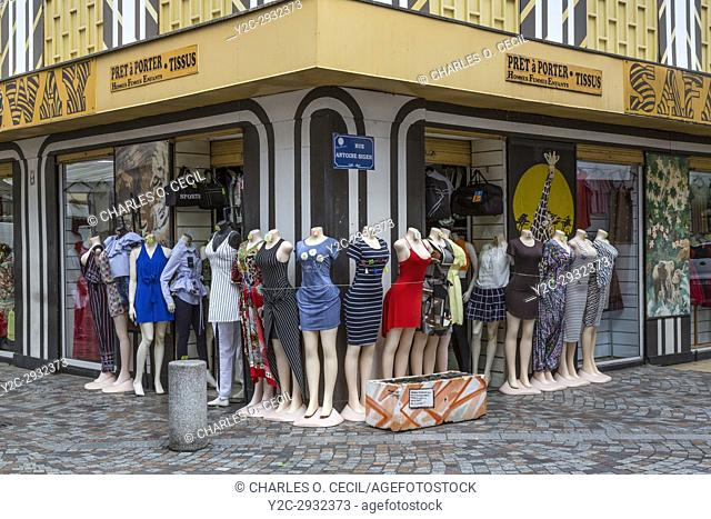 Fort-de-France, Martinique. Mannequins Displaying Clothing in the Rue de la Republique, a Pedestrian Walkway