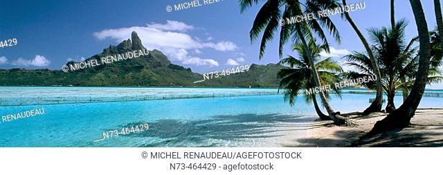 Bora-Bora and its lagoon, aerial view. Leeward Islands. French Polynesia