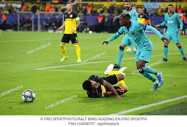 firo: 17.09.2019, football, UEFA Champions League, CL, season 2019/2020, BVB, Borussia Dortmund - FC Barcelona, Barca 0: 0 foul of SEMEDO