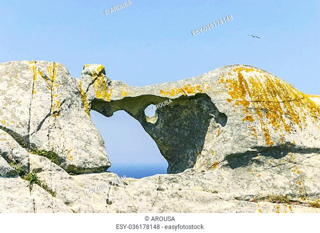 Bell rock sculpted by wind on Cies Islands