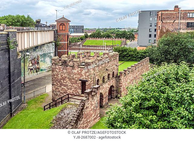 The remains of the Roman fort (Mamucium), protected as a Scheduled Ancient Monument, are in the Castlefield area of Manchester in North West England