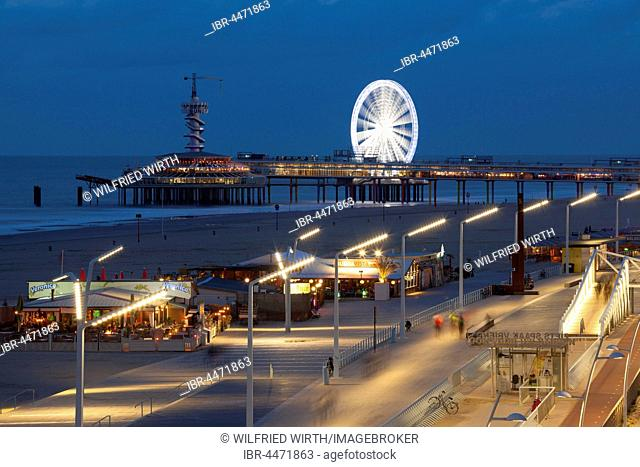 Beach boardwalk on the pier at night, Scheveningen, The Hague, Holland, The Netherlands