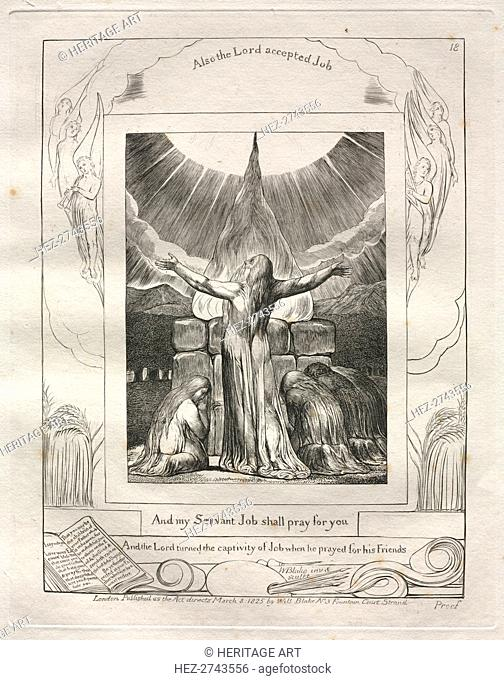 The Book of Job: Pl. 18, And my Servant Job shall pray for you, 1825. Creator: William Blake (British, 1757-1827)