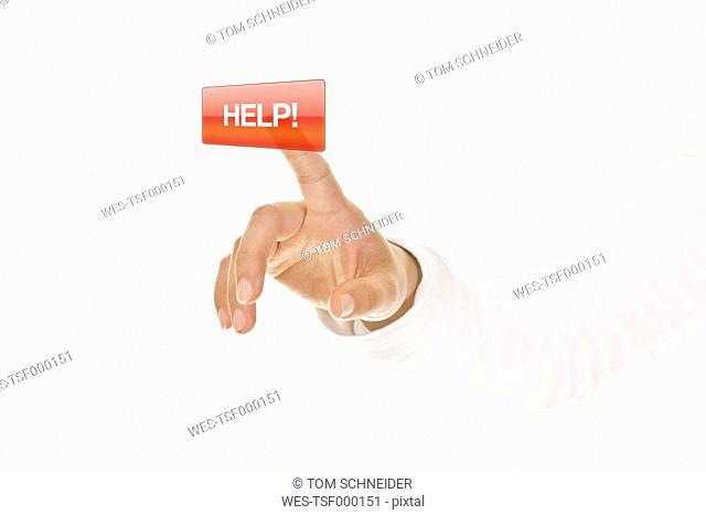 Human hand touching help button