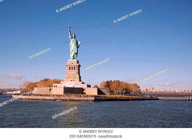 New York, USA - October 15, 2017: Statue of Liberty is the symbol of America. Free people. The symbol of freedom