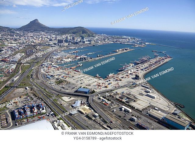 Port of Cape Town, in the background Signal Hill (right) and Lions Head (left). South Africa
