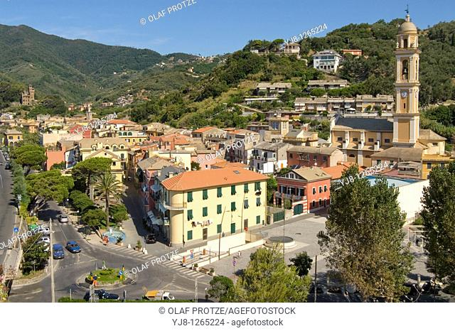 View over the small coastal Village Monegli at the Cinque Terre National Park in Liguria, North West Italy