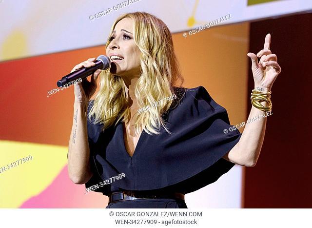 Spanish singer Marta Sanchez sings her version of the Spanish anthem during an act held by Spanish party Ciudadanos to present the platform 'Espana Ciudadana'...
