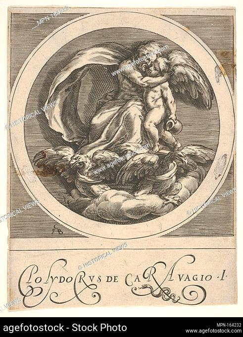 Jupiter, seated above two eagles and embracing Cupid, a round composition from a series of mythological scenes after Polidoro da Caravaggio